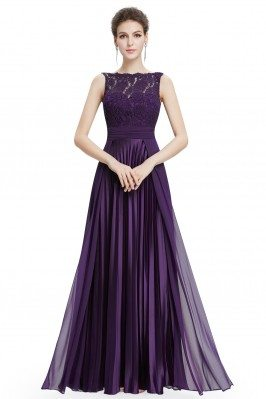 Purple High Neck Lace Long...