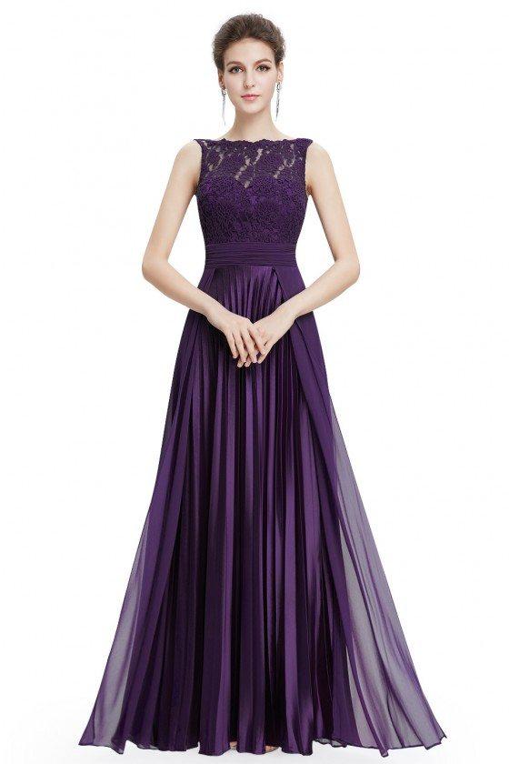Purple High Neck Lace Long Formal Evening Dress