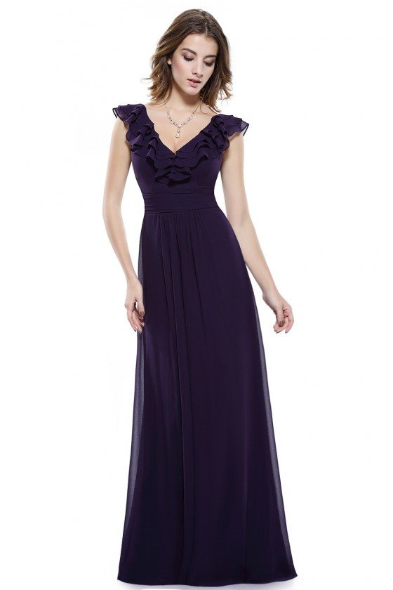 Dark Purple V-neck Empire Waist Sleeveless Chiffon Evening Dress