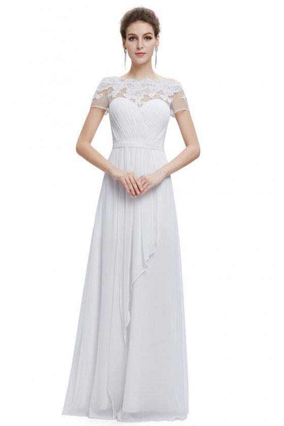 White A-line Boat Neck Sheer Lace Short Sleeves Evening Dress
