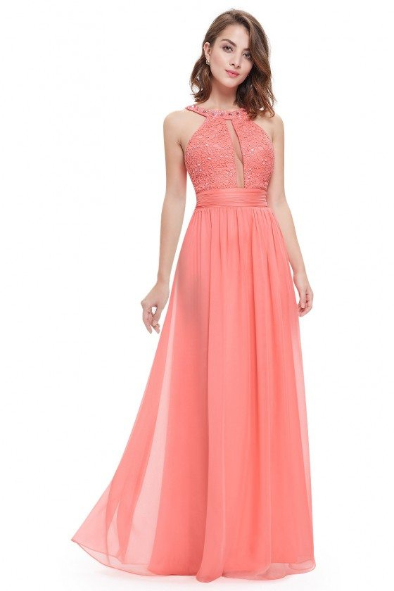 Sexy Coral Long Halter Ruffled Prom Dress