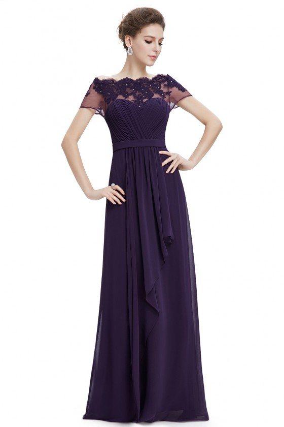 Dark Purple A-line Boat Neck Sheer Lace Short Sleeves Evening Dress