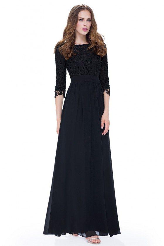 Elegant Black 3/4 Sleeve Lace Long Evening Dress