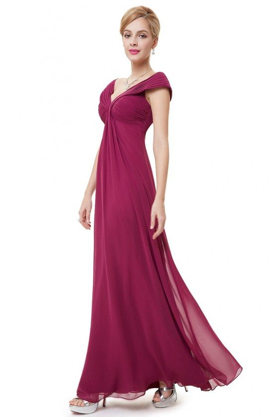 Purple Chiffon V-neck Long Party Dress