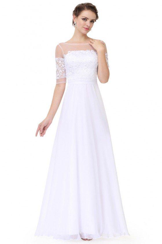White Illusion Neckline Half Sleeves Long Chiffon Formal Dress