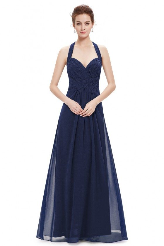 Sexy Navy Blue Halter Long Open Back Evening Dress