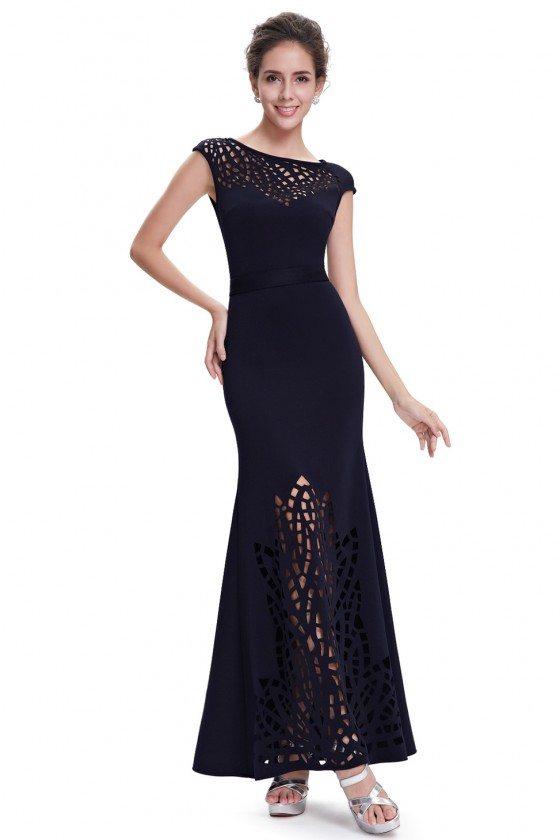 Navy Blue Lace Cap Sleeve Long Evening Dress