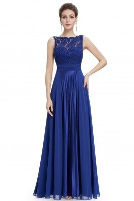 Royal Blue High Neck Lace...