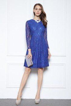 Royal Blue Lace Long Sleeve Short Dress
