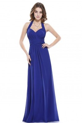Sexy Royal Blue Halter Long...