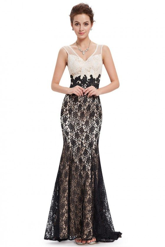 Black and White Lace Mermaid Long Prom Dress