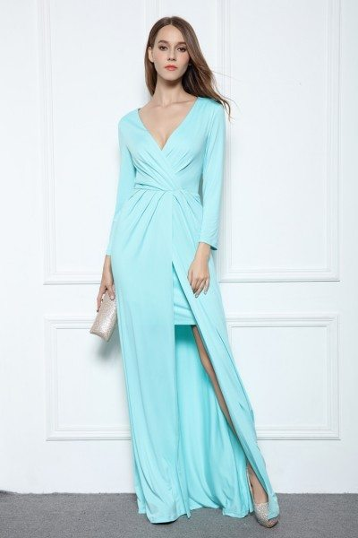 High Low Ruched Long Sleeve Party Dress