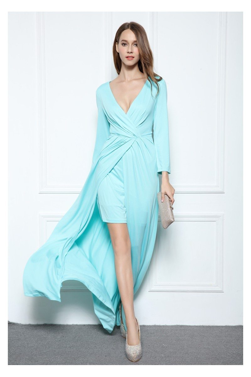 High Low Ruched Long Sleeve Party Dress - $99 #CK569 - SheProm.com