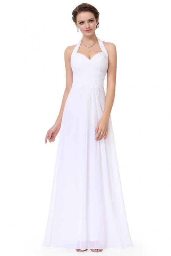 Sexy White Halter Long Open Back Evening Dress