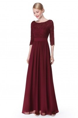 Elegant Burgundy 3/4 Sleeve...