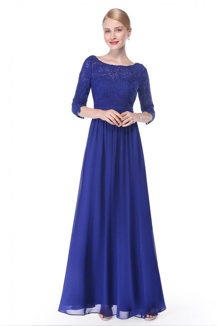 Elegant Royal Blue 3 4 Sleeve Lace Long Evening Dress