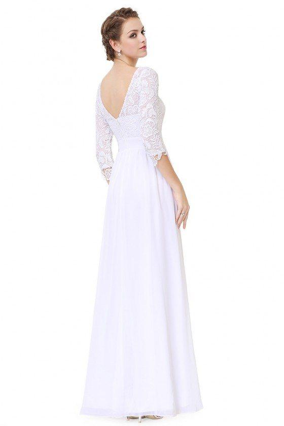 Elegant White 3/4 Sleeve Lace Long Evening Dress - $66 #EP08412WH ...