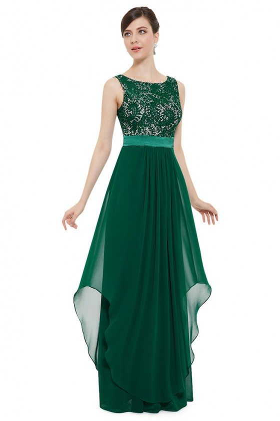Dark Green Sleeveless Round Neck Long Party Dress - $64 #EP08217DG ...
