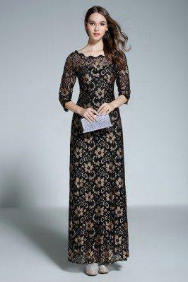 Black Lace Half Sleeve Formal Long Dress