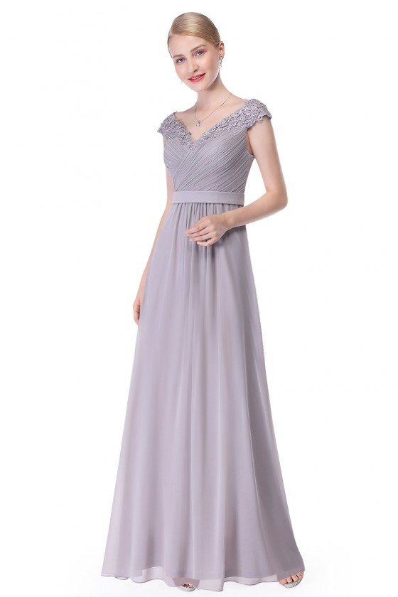 Grey Beaded Lace Cap Sleeve Long Prom Dress
