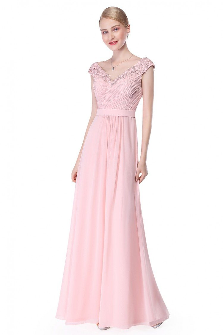 Pink Beaded Lace Cap Sleeve Long Prom Dress - $86 #EP08633PK ...