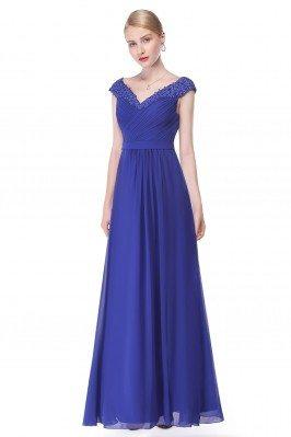 Royal Blue Beaded Lace Cap...