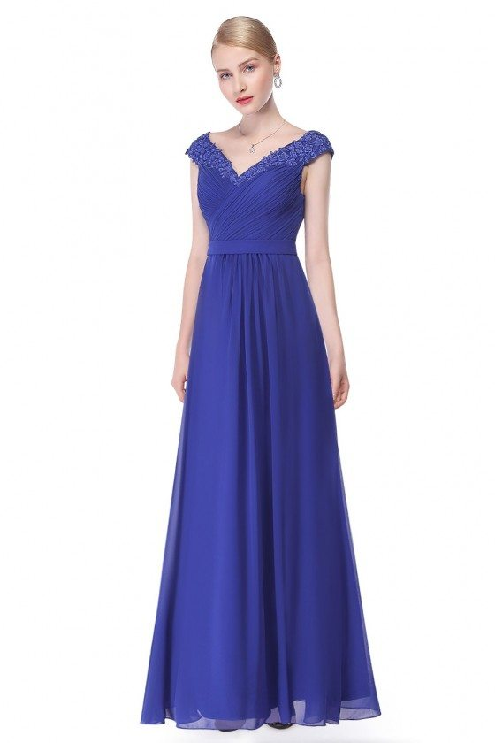 Royal Blue Beaded Lace Cap Sleeve Long Prom Dress