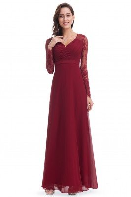 Burgundy V-neck Lace Long...