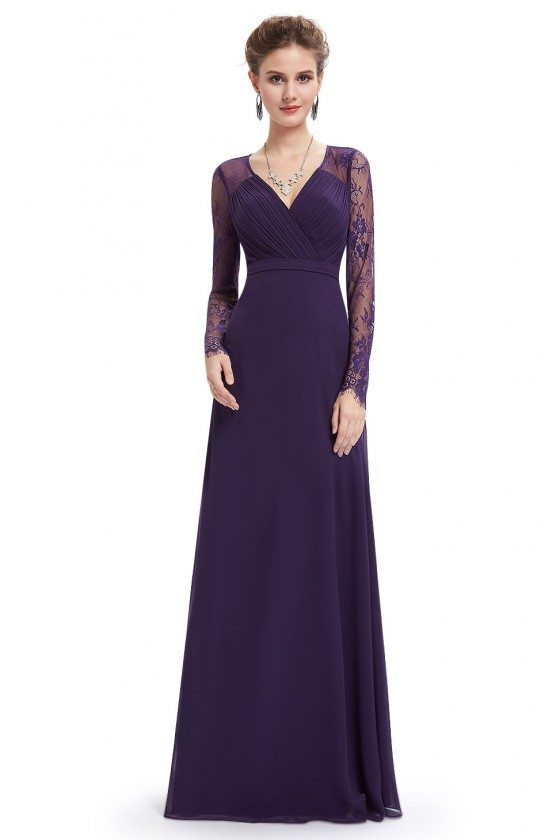 Dark Purple V-neck Lace Long Sleeve Evening Prom Dress