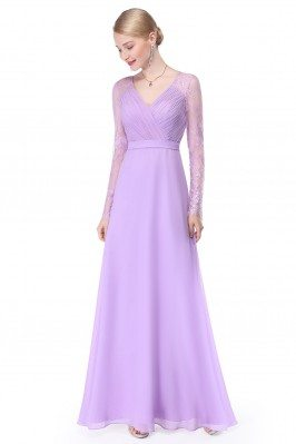 Lavender V-neck Lace Long...