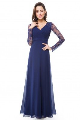 Navy Blue V-neck Lace Long...
