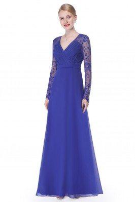 Royal Blue V-neck Lace Long...