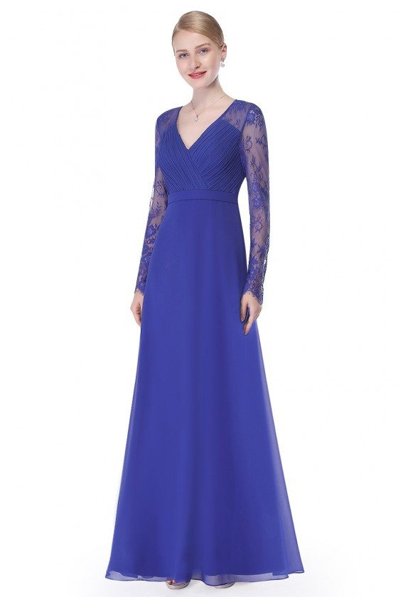 Royal Blue V-neck Lace Long Sleeve Evening Prom Dress
