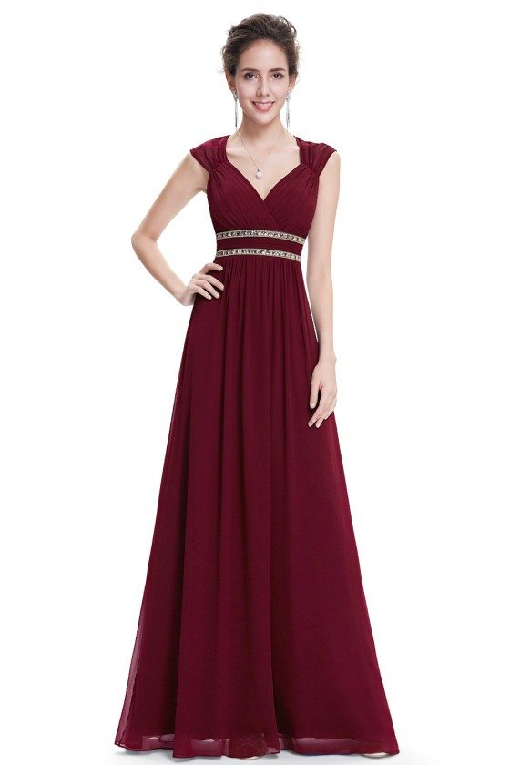 Burgundy V-Neck Beaded Waist Chiffon Long Prom Dress