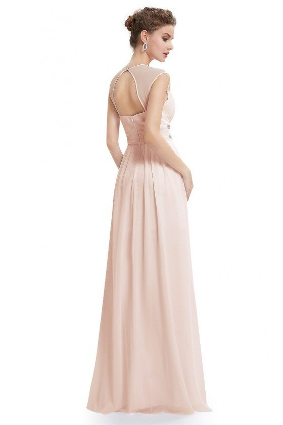 Beige V-Neck Beaded Waist Chiffon Long Prom Dress - $53 #EP08697BH ...