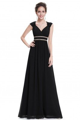 Black V-Neck Beaded Waist...