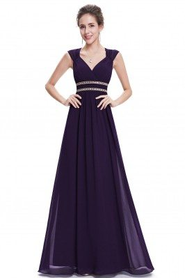 Dark Purple V-Neck Beaded...
