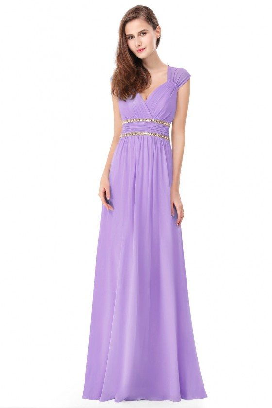 Lavender V-Neck Beaded Waist Chiffon Long Prom Dress