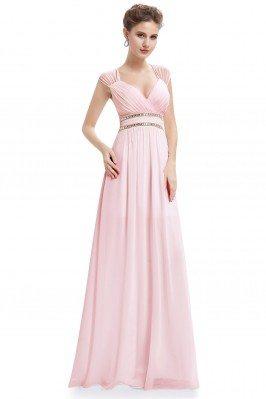 Pink V-Neck Beaded Waist...