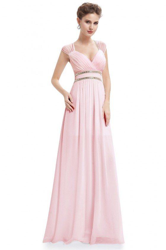 Pink V-Neck Beaded Waist Chiffon Long Prom Dress
