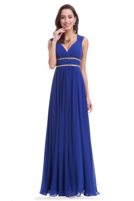 Royal Blue V-Neck Beaded Waist Chiffon Long Prom Dress