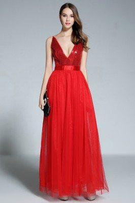Red Deep V-neck Sequin Tulle Long Dress