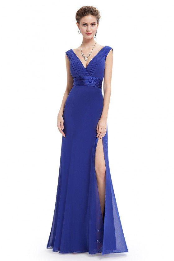 Royal Blue Sexy Slit V-neck Long Prom Dress