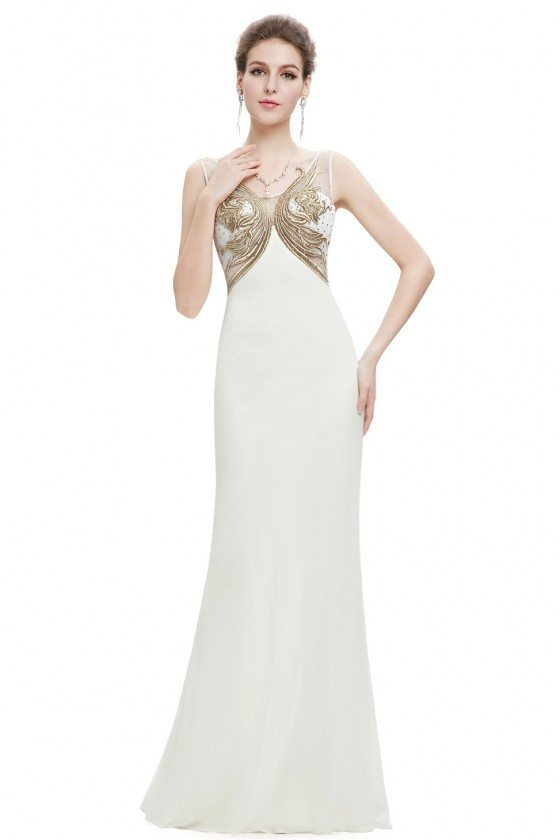 Gold and White Long Sheer Back Evening Dress