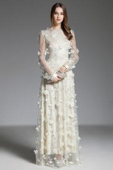 Formal Long Sleeve Flowers Party Dress
