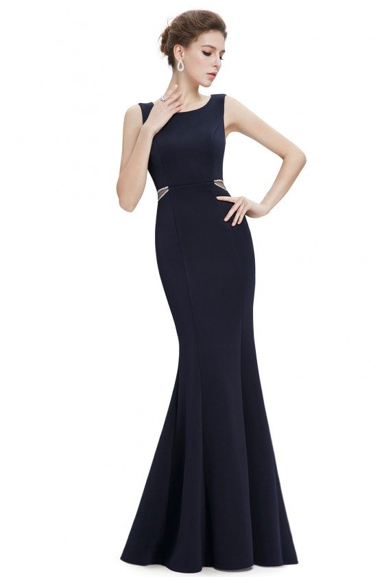 Blue Mermaid Round Neck Long Evening Dress