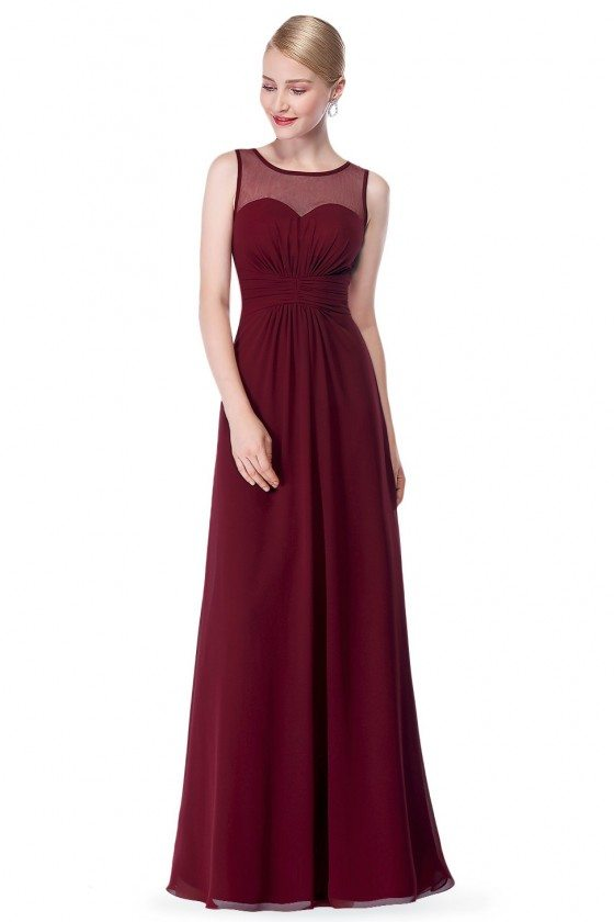 Burgundy Illusion Neckline Chiffon Long Prom Dress