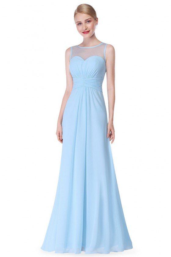 Blue Illusion Neckline Chiffon Long Prom Dress