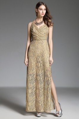 Ruched Lace Slit See-through Long Dress With Straps