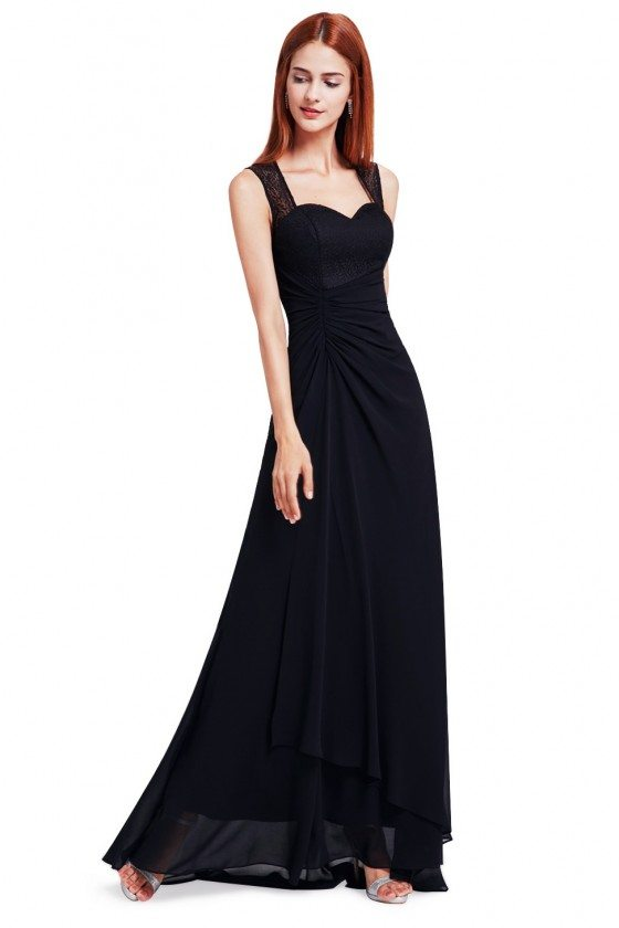 Black Simple Sheer Lace Long Evening Party Dress